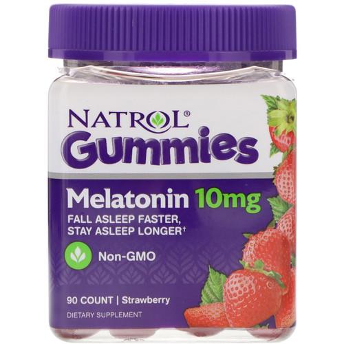 Melatonina gomas 10 mg  Morango - Natrol - 90 gomas