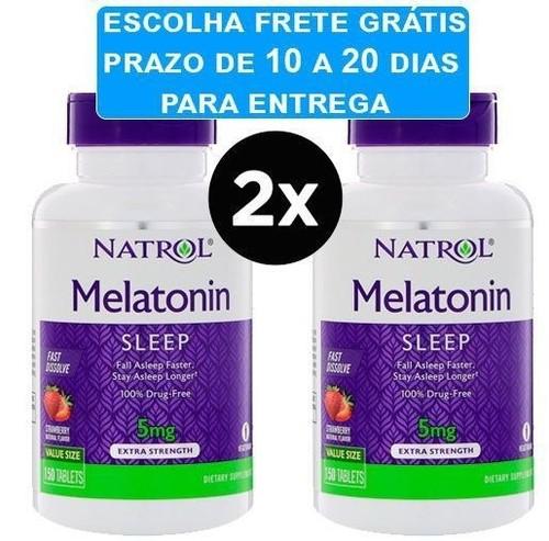 2 x Melatonina 5 mg Fast Dissolve sublingual Sabor Morango - Natrol - Total 300 comprimidos (Envio Internacional)