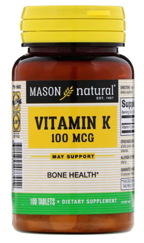 Vitamina K 100 mcg - Mason Natural - 100 tablets