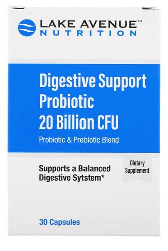 Digestive Support Probiótico - Lake Avenue - 20 Bilhões CFU - 30 Cápsulas