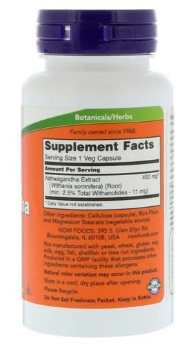 Extrato de Ashwagandha - Now Foods - 450 mg - 90 cápsulas
