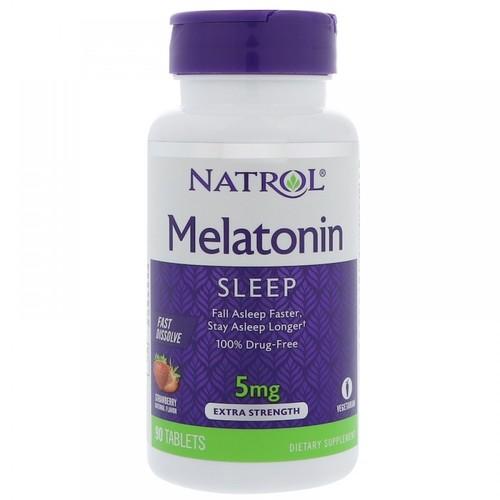 Melatonina 5 mg Fast Dissolve sublingual Sabor Morango - Natrol - 90 comprimidos -  Frete Grátis