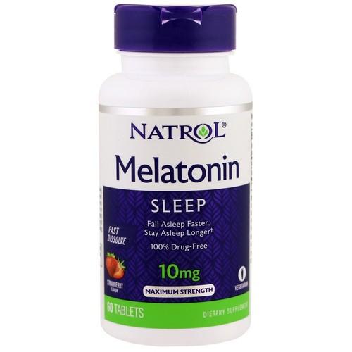 2 x Melatonina 10 mg Fast Dissolve sublingual sabor Citrus - Natrol - Total 120 comprimidos
