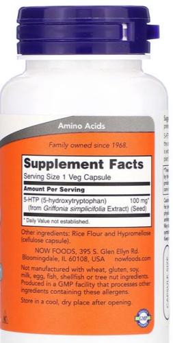 5-HTP 100 mg - Now Foods - 60 cápsulas de Liberação Rápida