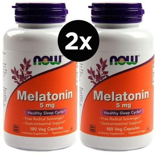 2 x  Melatonina 5 mg - Now Foods - Total 360 Cápsulas (Envio Internacional) Val: 12/22