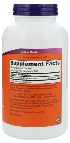 MSM 1000 mg - Now Foods - 120 Cápsulas
