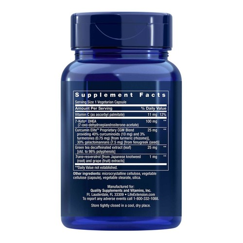 2 x 7-Keto DHEA 100 mg - Life Extension - Total 120 cápsulas - Frete Grátis