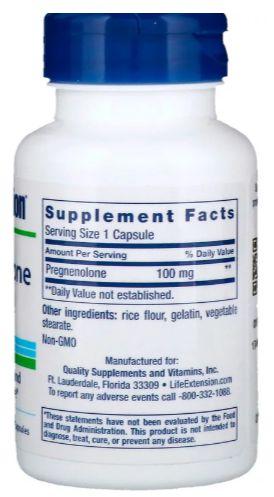 Pregnenolona 100 mg - Life Extension - 100 Cápsulas (Envio Internacional)