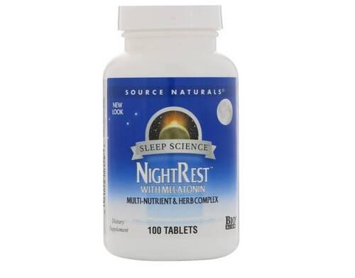 Night Rest com Melatonina - Source Naturals - 100 Tablets