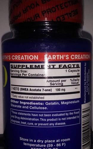 7-Keto DHEA 100 mg - Earth´s Creation - 60 cápsulas (Envio Internacional)