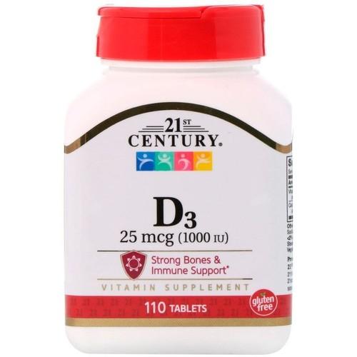Kit 2 x Vitamina D3 1000 UI - 21st Century - Total 220 tablets