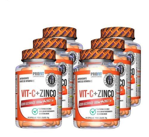 Kit Vitamina C 1000mg + Zinco 7mg - Profit Labs - Total 360 cápsulas
