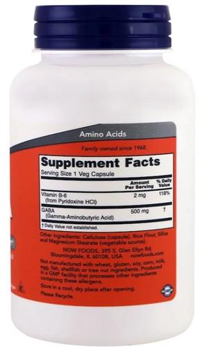 Gaba 500 mg - Now Foods - 200 cápsulas (Envio Internacional)