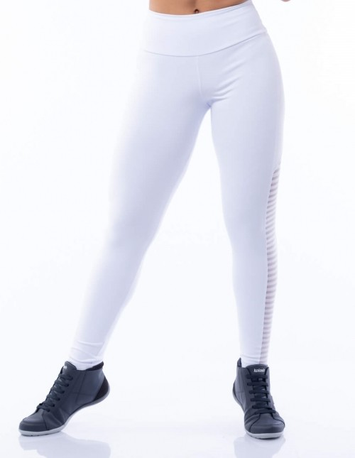 Calça Legging Poliamida Branca com Tela