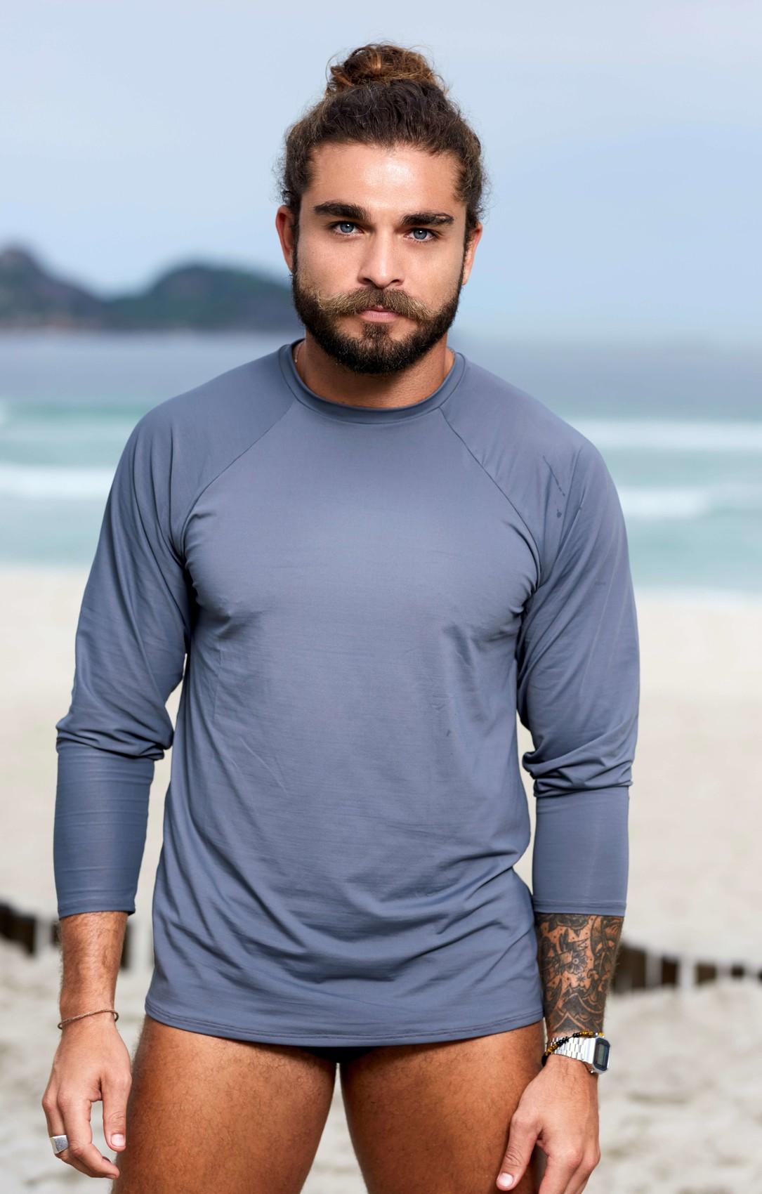 Camisa Proteção UV Masculina Cinza