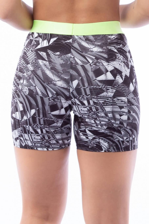 Short Estampado Black and White com Elástico Neon