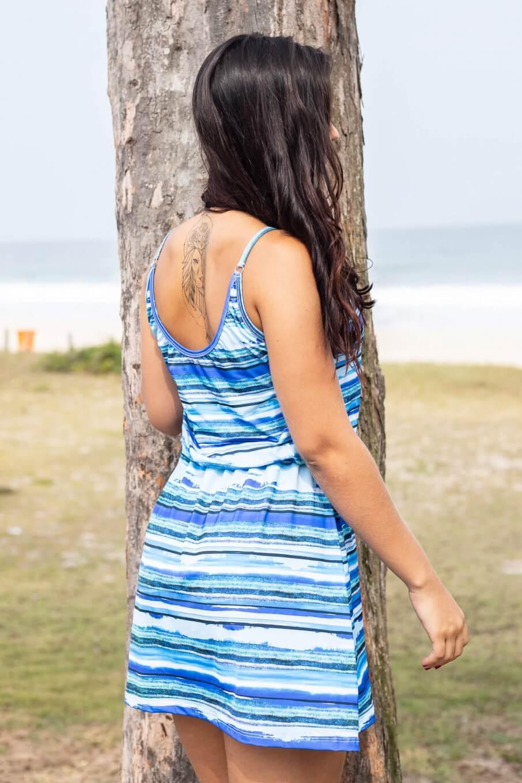 Saída de Praia Vestido Estampado Azul