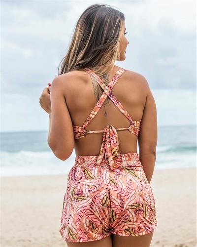 Short de Praia Estampado com bolso Ilhéus