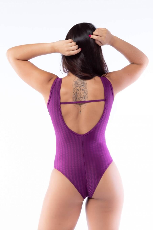 Body Fitness Poliamida Brilho Panamá com Tule Sport