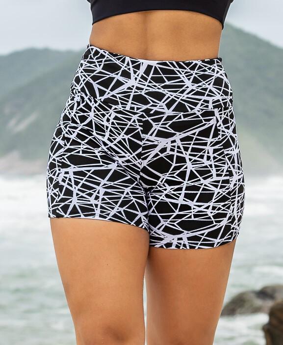 Short Fitness Jacquard Zero Transparência Preto e Branco