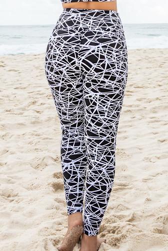 Calça Legging Modeladora Zero Transparência Jacquard Preta e Branca