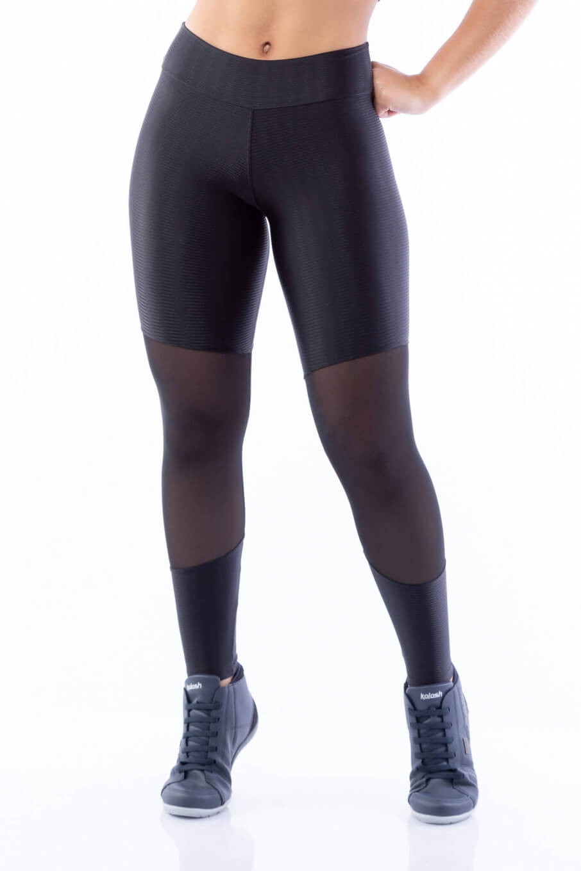 Calça Legging Poliamida Brilho com Tule Sport Preta