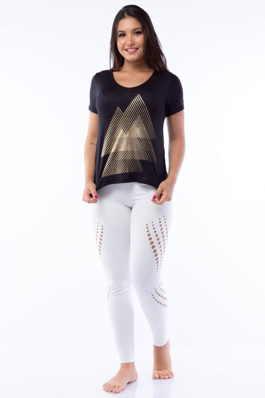 Blusa Poliamida Preta com Silk