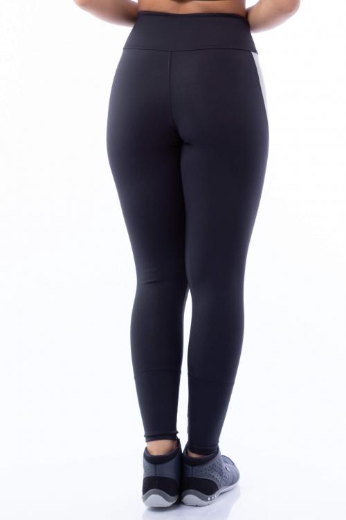 Calça Legging Poliamida Preta com Listra Lateral