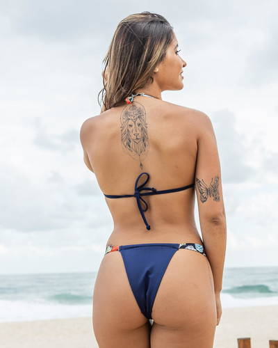Biquíni Cortininha com Calcinha Sumô Azul Marinho