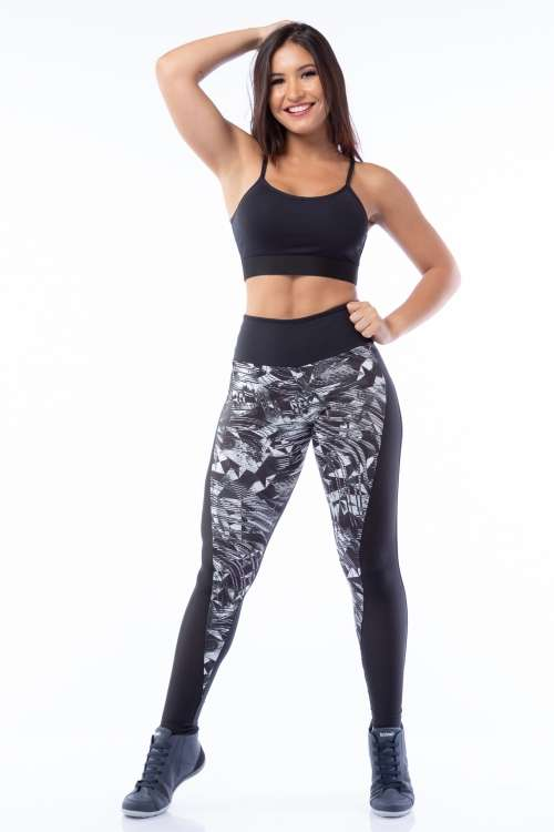 Calça Legging Poliamida Black and White