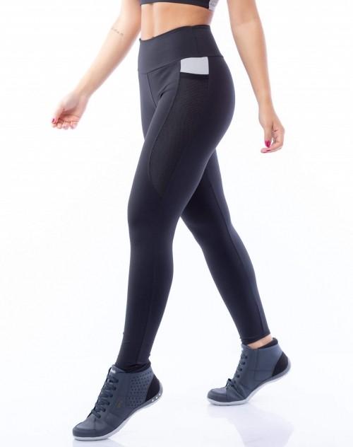 Calça Legging Poliamida com Bolso Preto e Cinza