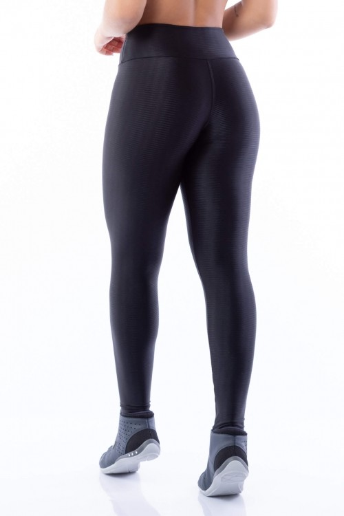 Calça Legging Básica Poliamida Brilho Preta