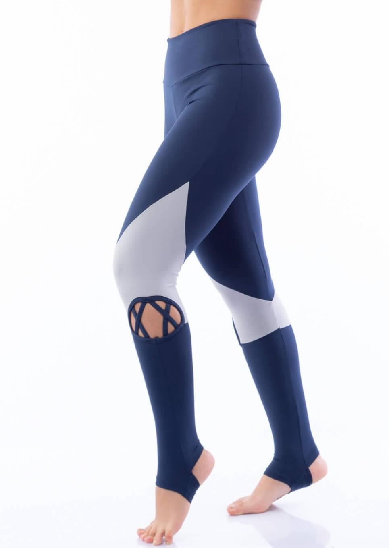 Calça Legging Poliamida Pezinho com Tiras Marinho
