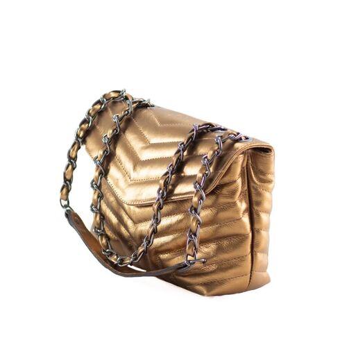 PORTO Bolsa de corrente em couro legítimo bronze