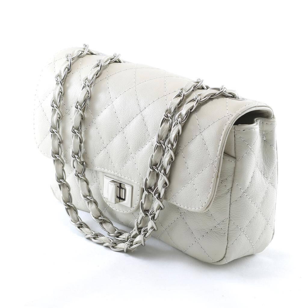 VERSALHES MEDIA Bolsa de corrente em couro legitimo off-white matelassê tradicional