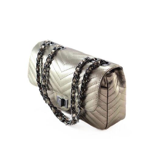 VERSALHES MÉDIA Bolsa de corrente em couro legítimo metalizada dourada