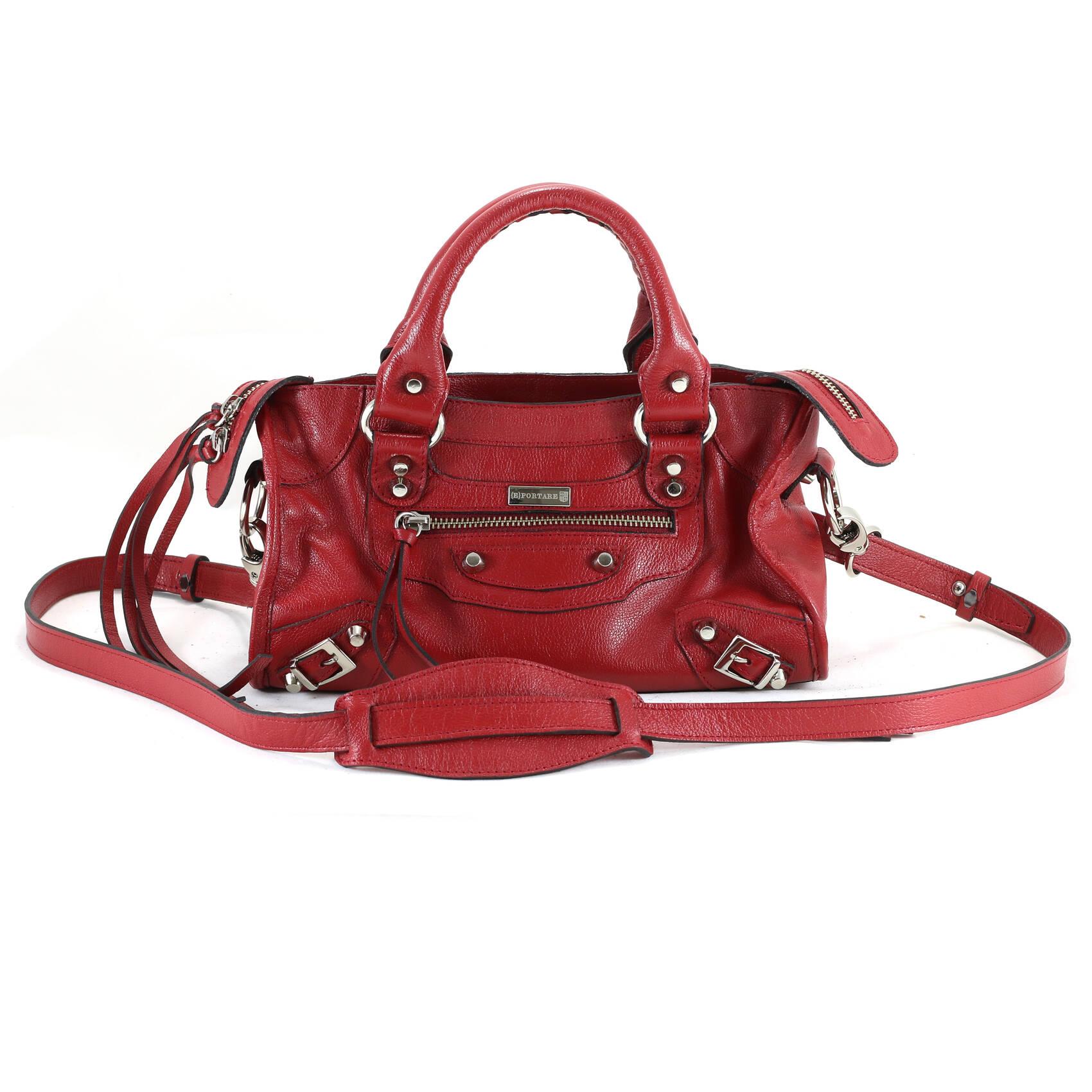 MINI BARCELONA Bolsa de couro vermelha