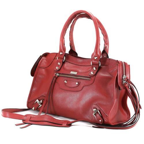 BARCELONA TRADICIONAL Bolsa grande couro legítimo vermelha