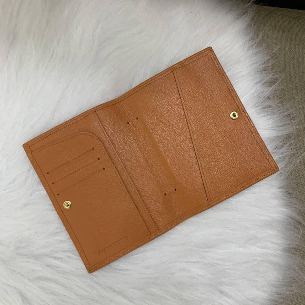 Porta-passaporte duplo couro legítimo laranja