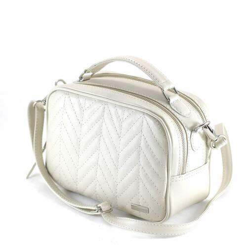 MINI MÉDIA Bolsa média a tiracolo em couro legítimo  branca / off white
