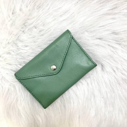 Porta-joias envelope couro legítimo verde menta