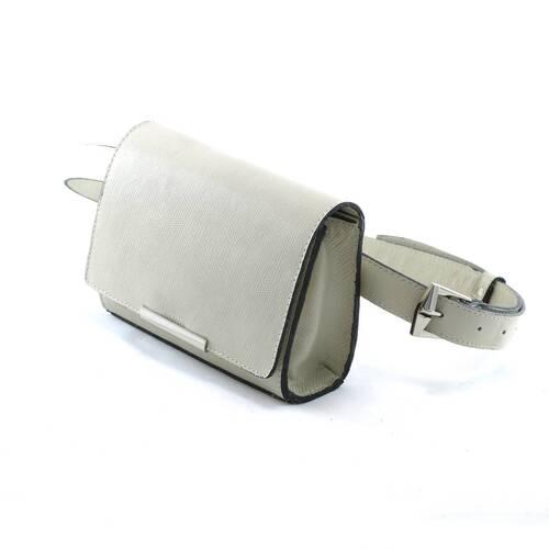 MÔNACO Bolsa pochete couro legítimo clutch com corrente off white