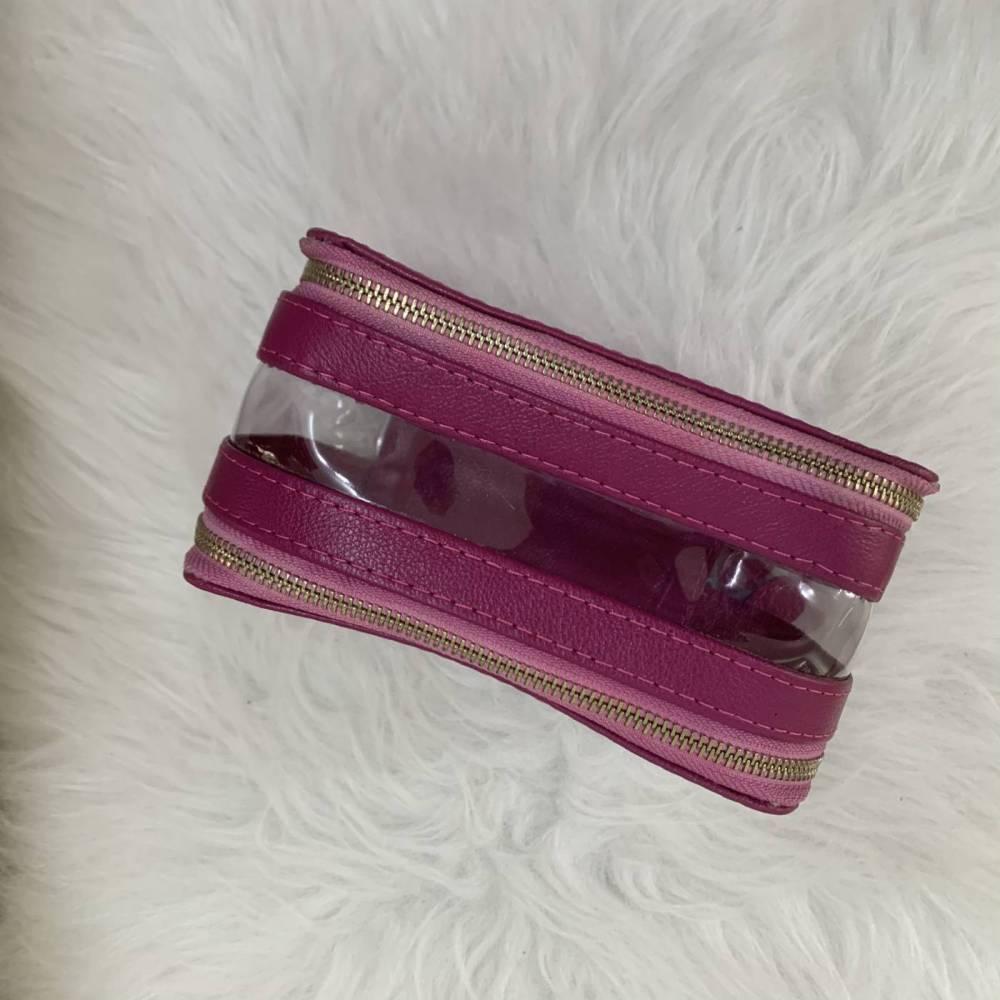 Necessaire dupla com visores transparentes rosa fúcsia