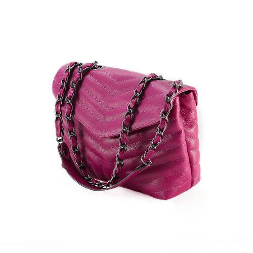 PORTO Bolsa de corrente em couro legítimo rosa fúcsia