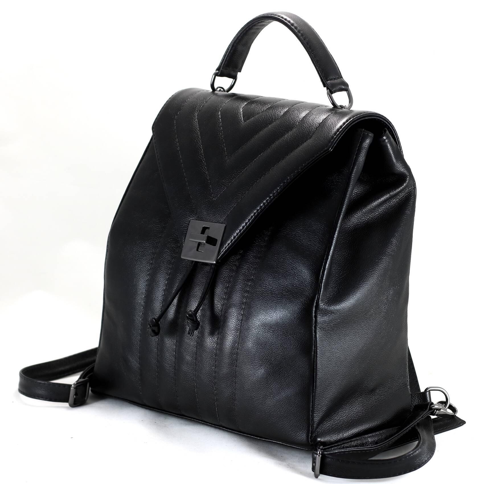 MOCHILA ROMA Bolsa mochila em couro legitimo preto