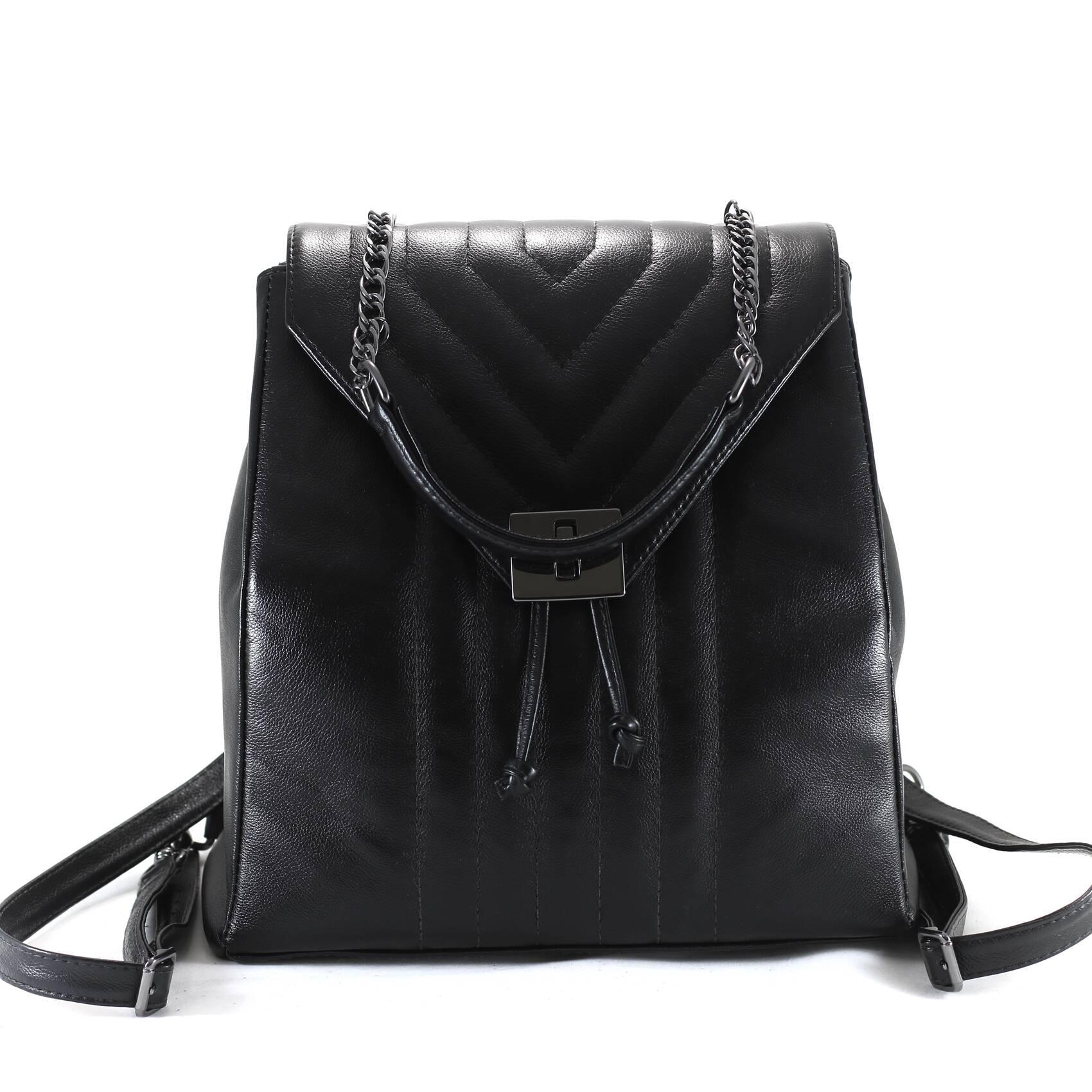 MOCHILA ROMA Bolsa mochila em couro legítimo preta