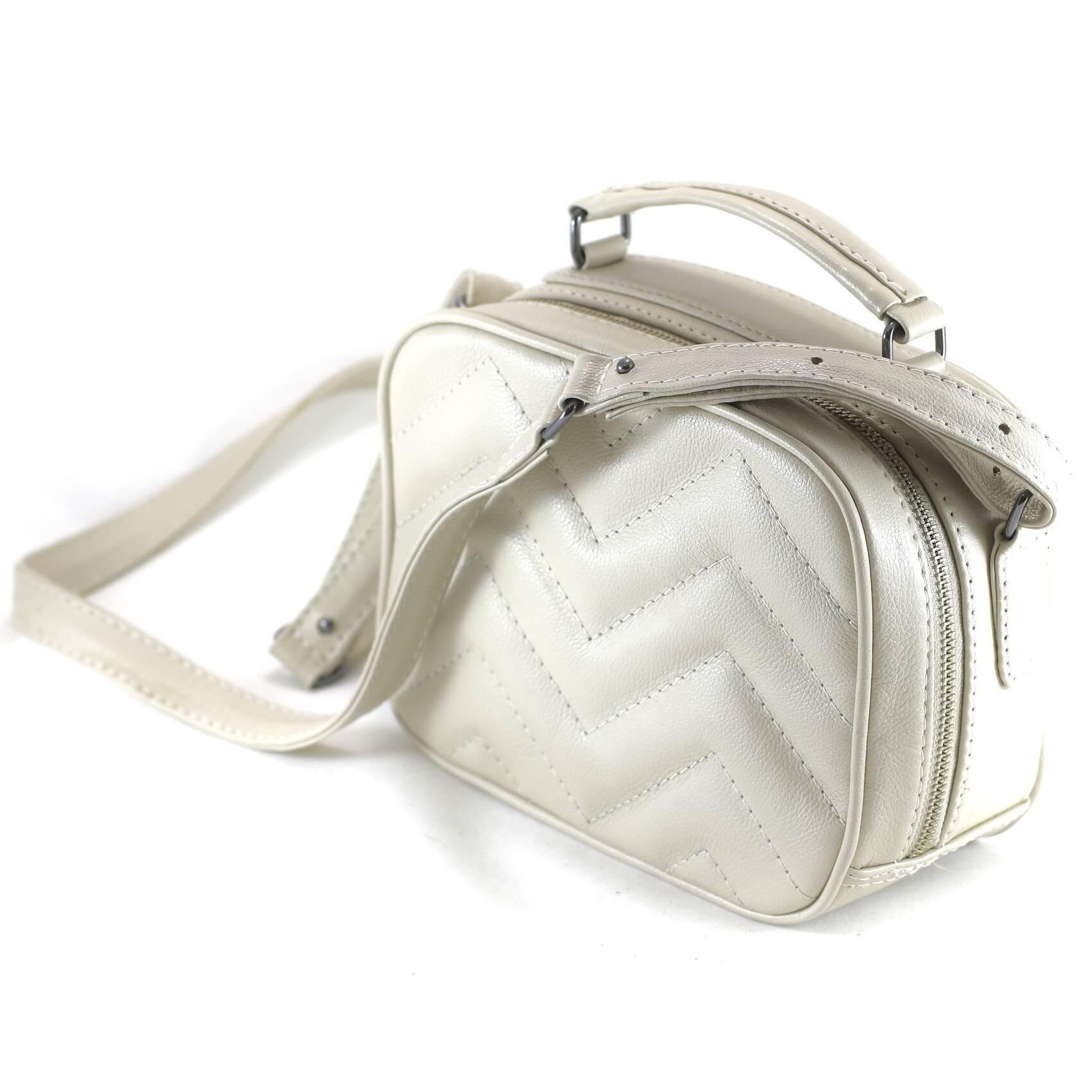 SANTORINI Bolsa quadradinha basica couro legitimo branca off white