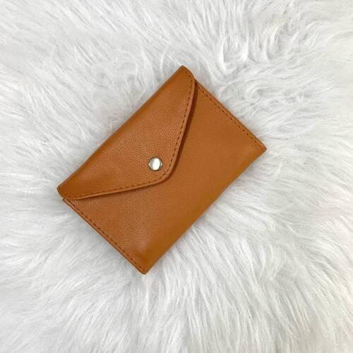 Porta-joias envelope couro legítimo laranja