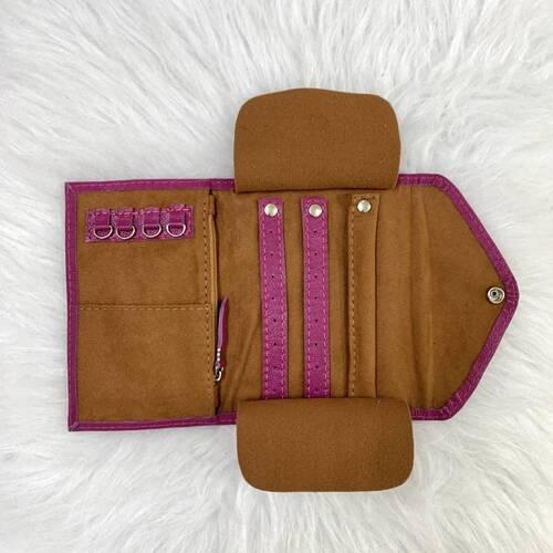Porta-joias envelope couro legítimo rosa fúcsia