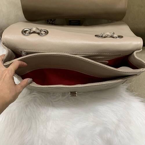VERSALHES GRANDE Bolsa de corrente em couro legítimo nude matelassê tradicional